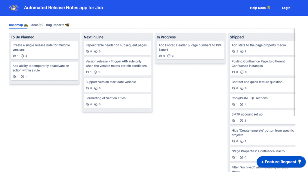 Automated Release Notes' Feature Voting Platform